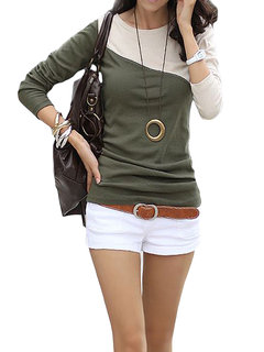 Women Long Sleeve Contrast Color Bottoming T-Shirt