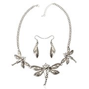 Silver Hollow Dragonfly Jewelry Set