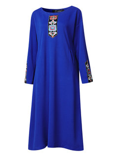 O-NEWE Ethnic Vintage Embroidered Long Sleeve O Neck Dress For Women