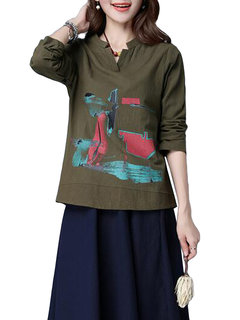 Casual Printed V-Neck Long Sleeve Blouse For Women