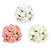 50X Artificial Flowers Fake Foam Flowers Roses Wedding Bridal Bouquet Decor
