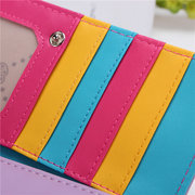 Lovely Women Contrast Color Leather Long Wallet