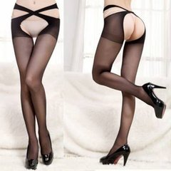 Women Sexy Open Crotch Cross Belt Stockings Waist Crotchless Tights Pantyhose