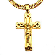 Cross Pendant Gold Plated Jesus Metal Necklace