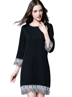 Casual Lace Patchwork O-Neck Straight Mini Dress For Women