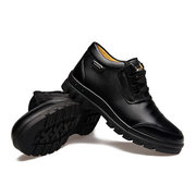 Men Winter Warm Cotton Leather Fur Lining Ankle Boots
