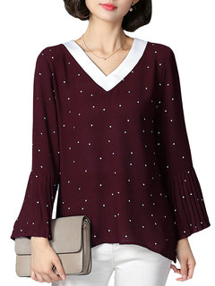 O-NEWE Elegant Loose Women Dots Trumpet Sleeve V Neck Blouse