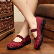 Big Size Slip On Elastic Embroidery Flat Vintage Shoes