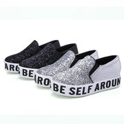 Paillette Bling Shiny Letter Casual Platform Slip On Round Toe Flat Loafers