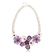 Oil Drip Crystal Flower Choker Necklace