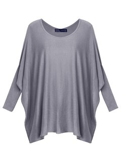 Women Casual Irregular Hem Loose Bat Sleeve O-Neck Sweater Blouse