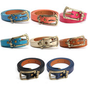 Women Waistband Faux Leather Thin Skinny Waist Belt Carving Buckle