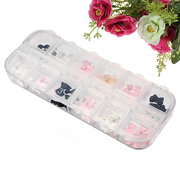 60Pcs 3D Resin Bowknot Rhinestone Nail Cell Phone Decoration With Clear Case