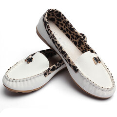 Casual Butterfly Knot Leopard Loafers Pu Flat Shoes