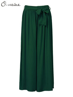 O-Newe Plus Size Solid Elastic Waist Wide Leg Pants With Belt For Women