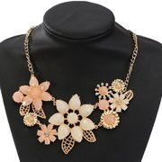Crystal Flowers Collar Statement Necklace