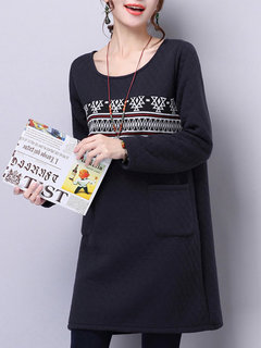 Ethnic Printed Splicing Solid Argyle Thick Long Sleeve Women Dress