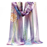Women Lady Chiffon Scarf Floral Gradient Colors Long Soft Wrap Lady Shawl Scarves