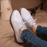 British Style Oxford Pure Color Leather Lace Up Shoes