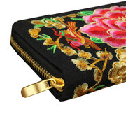 Retro National Embroidered Women Long Wallet
