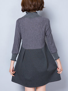 Women Casual Stitching Stand Collar Long Sleeve Dress