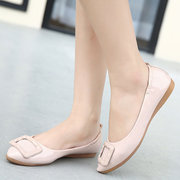 Buckle Pure Color Slip On Flat Casaul Egg Roll Folded Shoes