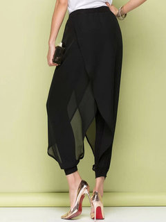 O-Newe Loose Pure Color Chiffon Patchwork Fake Two-Piece Harem Pants For Women