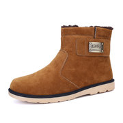Men Metal Suede High Top Keep Warm British Slip On Casual Boots
