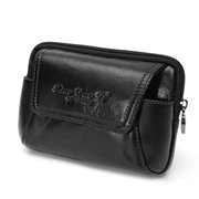 Men Cowhide Leather Waist Bag Cell Phone Case Wallet