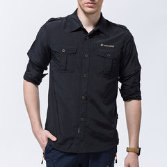 Mens Outdoor Detachable Sleeve Quick-drying Shirt Casual UV-proof Casual Shirts