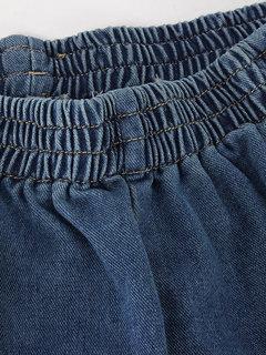 Casual Women Solid Elastic Waist Pocket Denim Shorts