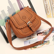 Womens Handbag Leisure PU Crossbody Bag Ladies Frame Hollow Weave Sling Bags
