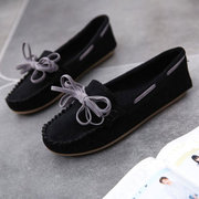 Bowknot Suede Loafers Flat Moccasins Soft Casual Shoes