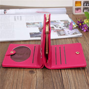 Women Cat Embroidery Leather Short Wallet