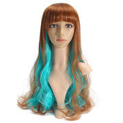 65cm Blue Brown Mixed Color Women Long Curly Wavy Wigs Cosplay Party Full Bang