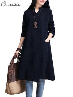 O-NEWE Women Elegant V Neck Pure Color Long Sleeve Pocket A-line Dress