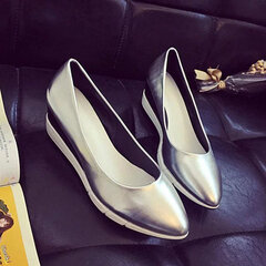 Wedge Heel Pointed Toe Slip On Pure Color Loafers