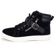 Men Suede Buckle Zipper High Top Korean Style Lace Up Casual Shoes