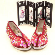 Embroidery Flower Colorful Cotton National Wind Slip On Flat Shoes