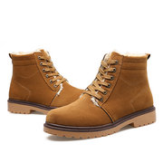 Leather High Top Lace Up Fur Lining British Boots For Men