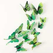 12Pcs 3D Art Decals Green Butterfly Wall Stickers Home Wedding Party Decoration