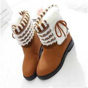 Mid Calf Butterfly Knot Warm Fur Height Increasing Snow Boots
