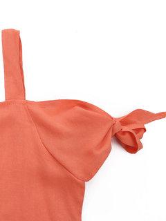 Женщины плеча Backless Pure Color Повседневная футболка