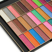 36 Colors Shimmer Glitter Eyeshadow Makeup Palette Mirror Brushes Earth Tone Pearl Effect