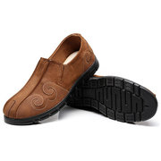 Cotton Cloth Pattern Stitching Vintage Slip On Flat Casual Shoes