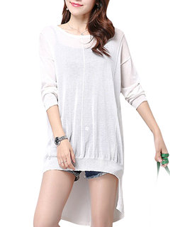 Transparent Loose High Low Sexy Long Sleeve  Casual Women Blouse