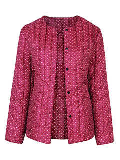 Women Casual Vintage Printed Dots Long Sleeve Button Warm Coat
