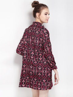 Sexy Floral Tie Neck Princess Long Sleeve Chiffon Retro Women Mini Dress