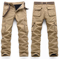 Casual Winter Villus Thick Warm Outdoor Multi-Pocket Wearable Cargo Pants For Men