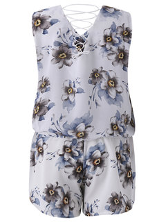 Women Casual Floral Print Loose Cross Strap V-neck Sleeveless Suit